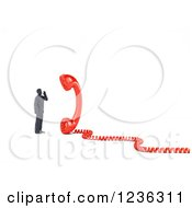 Clipart Of A 3d Businessman Listening To A Giant Telephone Receiver Royalty Free CGI Illustration