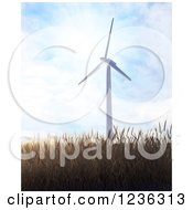 3d Windmill Over A Field Of Wheat On A Sunny Day