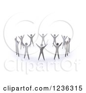 Clipart Of A 3d Team Of People Holding Their Arms Up In A Circle Royalty Free CGI Illustration