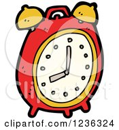 Clipart Of A Red Alarm Clock Royalty Free Vector Illustration