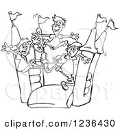 Clipart Of Black And White Boys Jumping On A Castle Bouncy House Royalty Free Vector Illustration