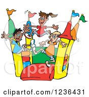 Clipart Of Happy Children Jumping On A Colorful Castle Bouncy House 2 Royalty Free Vector Illustration