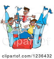 Clipart Of Boys Jumping On A Red And Blue Castle Bouncy House 3 Royalty Free Vector Illustration