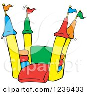 Clipart Of A Colorful Jumping Castle Bouncy House Royalty Free Vector Illustration