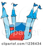 Clipart Of A Blue And Red Jumping Castle Bouncy House Royalty Free Vector Illustration by Dennis Holmes Designs