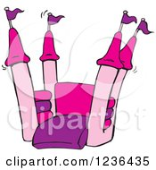 Clipart Of A Pink And Purple Jumping Castle Bouncy House Royalty Free Vector Illustration by Dennis Holmes Designs