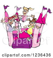 Clipart Of A Caucasian Girls Jumping On A Pink And Purple Castle Bouncy House Royalty Free Vector Illustration