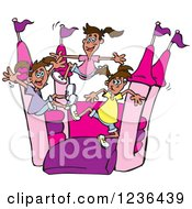 Clipart Of A Girls Jumping On A Pink And Purple Castle Bouncy House Royalty Free Vector Illustration