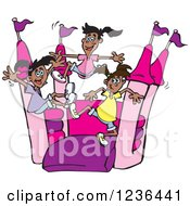 Black Girls Jumping On A Pink And Purple Castle Bouncy House