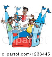 Clipart Of Boys Jumping On A Red And Blue Castle Bouncy House Royalty Free Vector Illustration