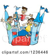 Clipart Of Asian Boys Jumping On A Castle Bouncy House Royalty Free Vector Illustration by Dennis Holmes Designs