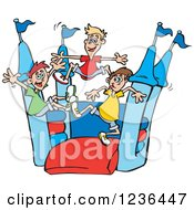 Clipart Of Caucaisan Boys Jumping On A Castle Bouncy House 3 Royalty Free Vector Illustration