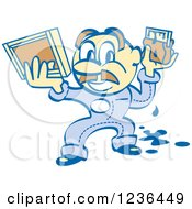 Clipart Of A Retro Screen Printer Man With Paint And A Screen Royalty Free Vector Illustration
