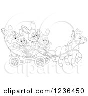 Clipart Of A Black And White Bunny Rabbit Family On An Easter Horse Drawn Cart Royalty Free Vector Illustration