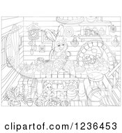 Clipart Of A Black And White Female Bunny Rabbit Making An Easter Cake In A Cabin Royalty Free Vector Illustration