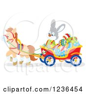 Clipart Of A Gray Male Easter Bunny Steering A Horse Drawn Cart Full Of Eggs Royalty Free Vector Illustration