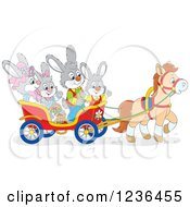 Clipart Of A Bunny Family On An Easter Horse Drawn Cart Royalty Free Vector Illustration