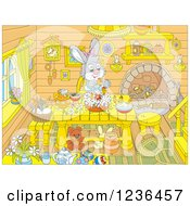 Clipart Of A Female Rabbit Making An Easter Cake In A Cabin Royalty Free Vector Illustration