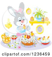 Clipart Of A Gray Female Bunny Rabbit Decorating An Easter Cake Royalty Free Vector Illustration by Alex Bannykh