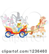 Clipart Of A Bunny Rabbit Family On An Easter Horse Drawn Cart Royalty Free Vector Illustration