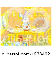 Clipart Of A Female Bunny Rabbit Making An Easter Cake In A Cabin Royalty Free Vector Illustration