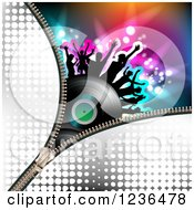 Clipart Of A Zipper Over A Dancing Crowd On A Vinyl Record Album Over Colorful Lights Royalty Free Vector Illustration by merlinul