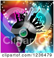 Clipart Of A Dancing Crowd On A Vinyl Record Album Over Colorful Lights Royalty Free Vector Illustration