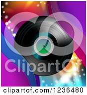 Clipart Of A Vinyl Record Album Over Colorful Lights Royalty Free Vector Illustration by merlinul