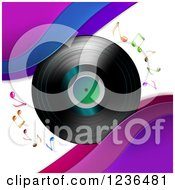 Clipart Of A Vinyl Record Album With Music Notes And Waves Royalty Free Vector Illustration
