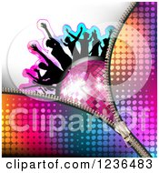 Clipart Of A Zipper Over Silhouetted People Dancing Over A Disco Ball Royalty Free Vector Illustration