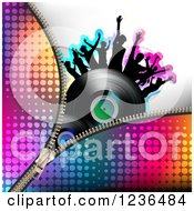 Clipart Of A Colorful Zipper Over A Dancing Crowd On A Vinyl Record Album Royalty Free Vector Illustration by merlinul