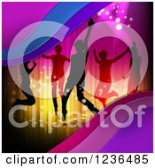 Clipart Of Silhouetted People Dancing Over Lights And Waves Royalty Free Vector Illustration