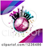 Clipart Of Silhouetted People Dancing Over A Disco Ball With Notes And Waves Royalty Free Vector Illustration