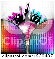 Clipart Of A Zipper Over Silhouetted People Dancing Over A Disco Ball 2 Royalty Free Vector Illustration
