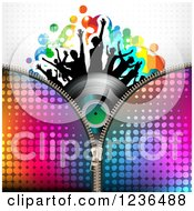 Clipart Of A Zipper Over A Dancing Crowd On A Vinyl Record Album Over Halftone Royalty Free Vector Illustration