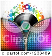 Clipart Of A Colorful Zipper Over A Vinyl Record Album Royalty Free Vector Illustration