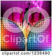 Clipart Of A Zipper Over Silhouetted People Dancing Over Lights And Waves Royalty Free Vector Illustration