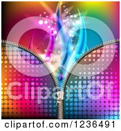 Clipart Of A Colorful Zipper Background With Waves And Music Notes Royalty Free Vector Illustration