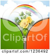 Clipart Of A Green And Orange Zipper Background Over Sky With A Rainbow And Roses Royalty Free Vector Illustration