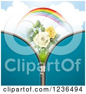 Clipart Of A Blue Zipper Background Over A Sky With A Rainbow And Roses Royalty Free Vector Illustration by merlinul