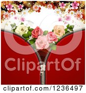 Clipart Of A Red Zipper Background With Roses And Flowers Royalty Free Vector Illustration