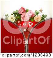 Clipart Of A Zipper Background Of Red With Hearts And Roses Royalty Free Vector Illustration by merlinul