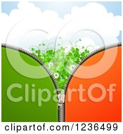 Clipart Of A Zipper St Patricks Day Background Of Shamrocks Butterflies Flowers And A Ladybug Royalty Free Vector Illustration
