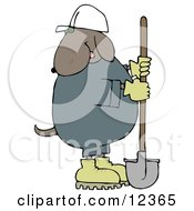 Cosntruction Worker Dog In A Hardhat Using A Shovel