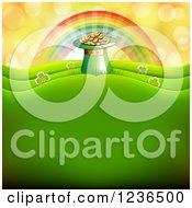 Clipart Of A St Patricks Day Background Of A Rainbow Leprechuan Hat Pot Of Gold And Shamrocks Royalty Free Vector Illustration