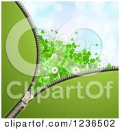 Clipart Of A Zipper St Patricks Day Background Of Shamrocks Flowers Butterflies And A Ladybug Royalty Free Vector Illustration by merlinul