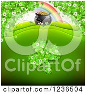 Clipart Of A St Patricks Day Background Of A Rainbow Pot Of Gold And Shamrocks Royalty Free Vector Illustration
