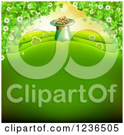 Clipart Of A St Patricks Day Background Of A Leprechuan Hat Pot Of Gold And Shamrocks Royalty Free Vector Illustration