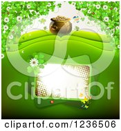 Clipart Of A St Patricks Day Background Of A Pot Of Gold And Shamrocks 2 Royalty Free Vector Illustration