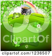 Clipart Of A St Patricks Day Background Of A Pot Of Gold Rainbow And Shamrocks Royalty Free Vector Illustration